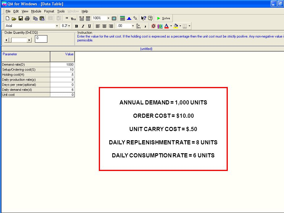 Optimal Order Quantity Total Variable Costs