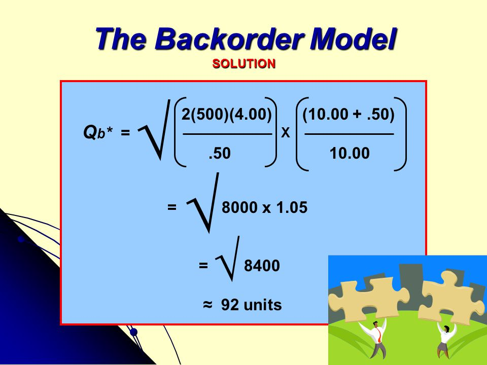 The Backorder Model SOLUTION 2(500)(4.00) (10.00 +.50).50 10.00 = 8000 x 1.05 = 8400 ≈ 92 units Q b * = √ √ √ X