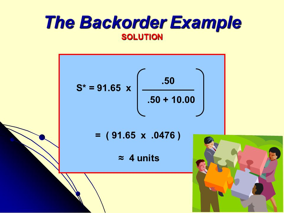 The Backorder Example SOLUTION.50.50 + 10.00 S* = 91.65 x = ( 91.65 x.0476 ) ≈ 4 units
