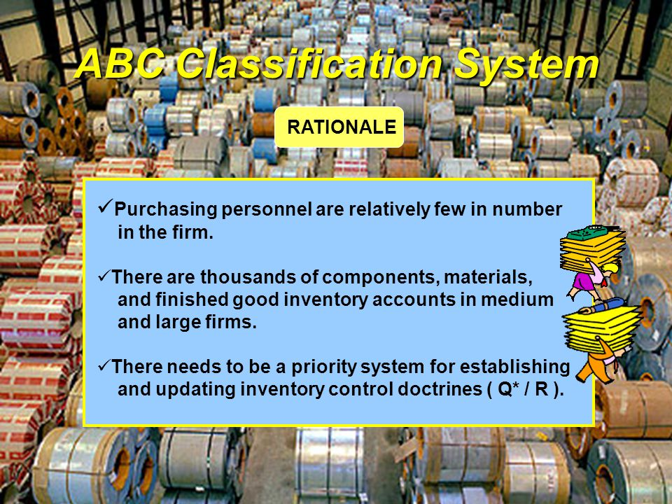 ABC Classification System Purchasing personnel are relatively few in number in the firm. There are thousands of components, materials, and finished go