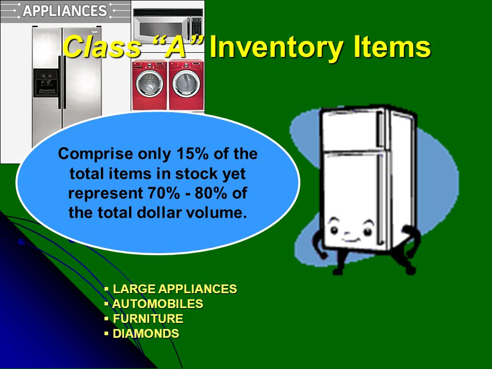 "Class ""A"" Inventory Items LARGE APPLIANCES  LARGE APPLIANCES  AUTOMOBILES  FURNITURE  DIAMONDS Comprise only 15% of the total items in stock yet r"