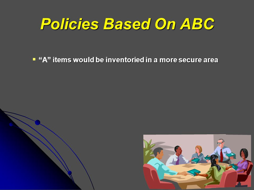 "Policies Based On ABC items would be inventoried in a more secure area  ""A"" items would be inventoried in a more secure area"