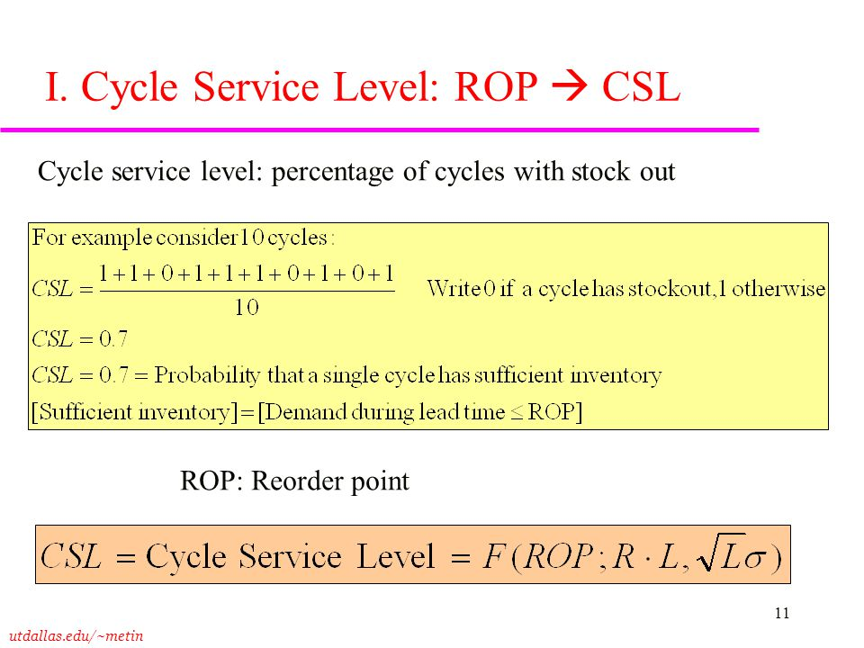 utdallas.edu/~metin 11 I. Cycle Service Level: ROP  CSL Cycle service level: percentage of cycles with stock out ROP: Reorder point