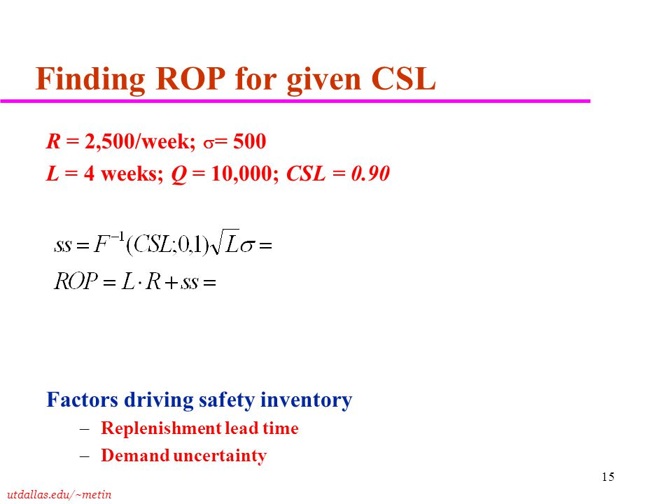 utdallas.edu/~metin 15 Finding ROP for given CSL R = 2,500/week;  = 500 L = 4 weeks; Q = 10,000; CSL = 0.90 Factors driving safety inventory –Repleni