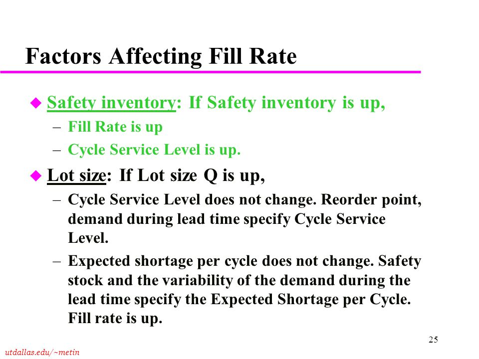 utdallas.edu/~metin 25 Factors Affecting Fill Rate u Safety inventory: If Safety inventory is up, –Fill Rate is up –Cycle Service Level is up. u Lot s
