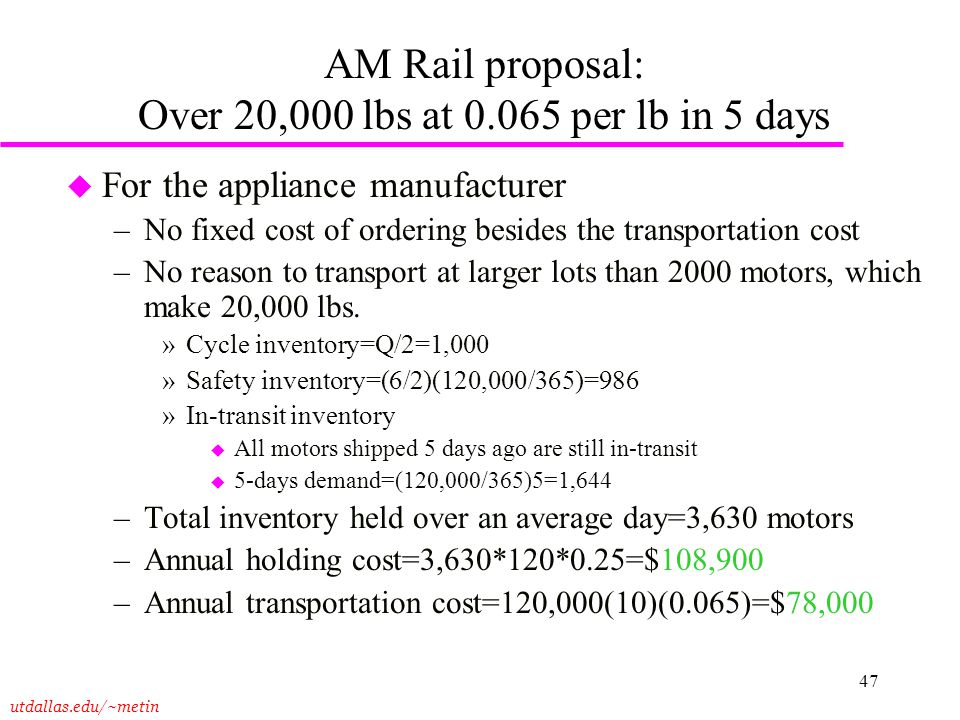 utdallas.edu/~metin 47 AM Rail proposal: Over 20,000 lbs at 0.065 per lb in 5 days u For the appliance manufacturer –No fixed cost of ordering besides