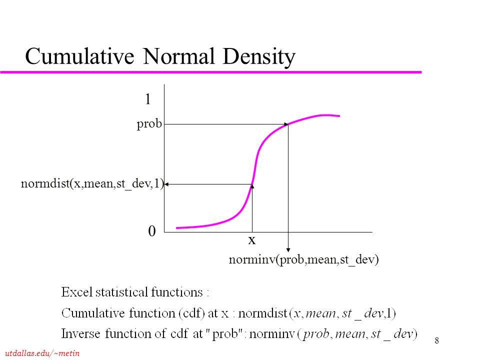 utdallas.edu/~metin 8 Cumulative Normal Density 0 1 x normdist(x,mean,st_dev,1) prob norminv(prob,mean,st_dev)