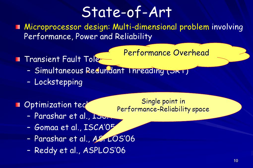 10 State-of-Art Microprocessor design: Multi-dimensional problem involving Performance, Power and Reliability Transient Fault Tolerance – –Simultaneous Redundant Threading (SRT) – –Lockstepping Optimization techniques – –Parashar et al., ISCA'04 – –Gomaa et al., ISCA'05 – –Parashar et al., ASPLOS'06 – –Reddy et al., ASPLOS'06 Performance Overhead Single point in Performance-Reliability space