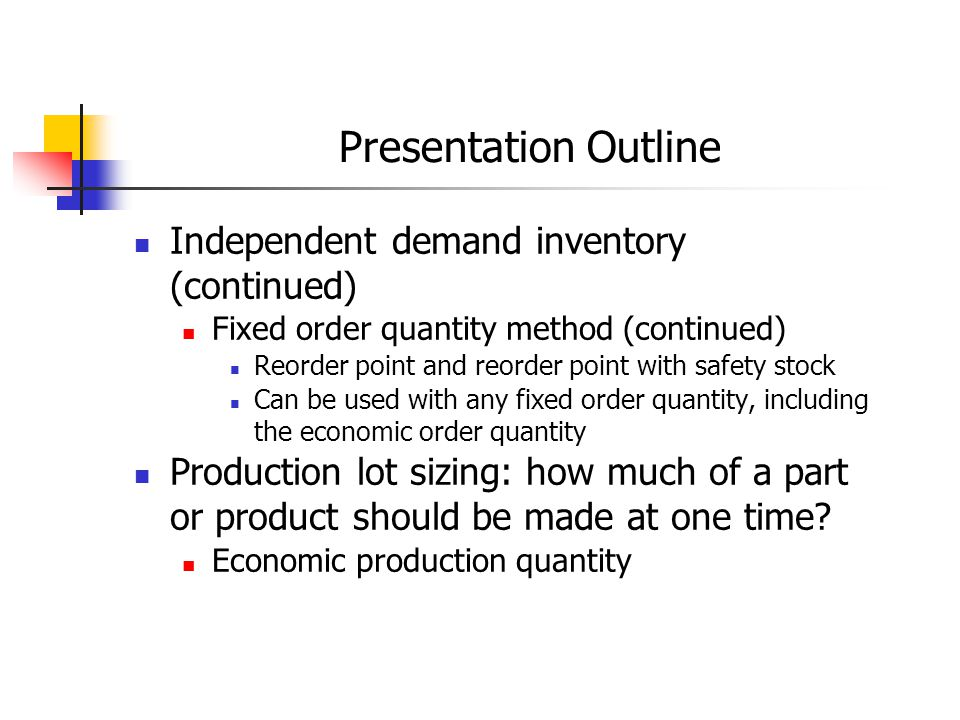 Simple Reorder Point Use this method when daily demand is constant.