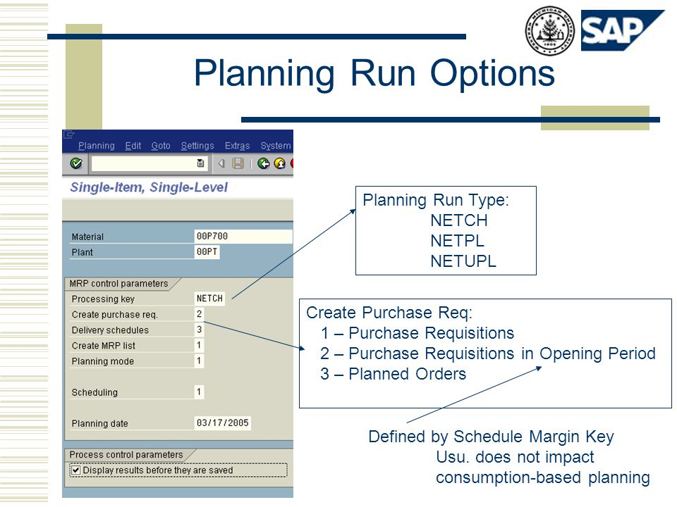 Planning Run Options Planning Run Type: NETCH NETPL NETUPL Create Purchase Req: 1 – Purchase Requisitions 2 – Purchase Requisitions in Opening Period