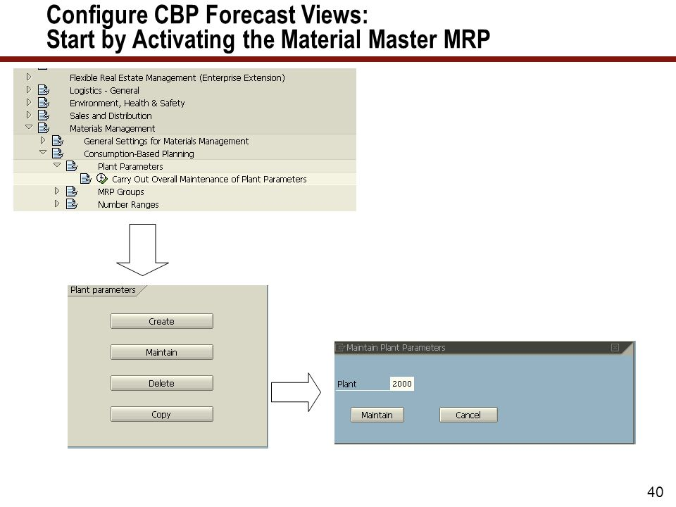 40 Configure CBP Forecast Views: Start by Activating the Material Master MRP