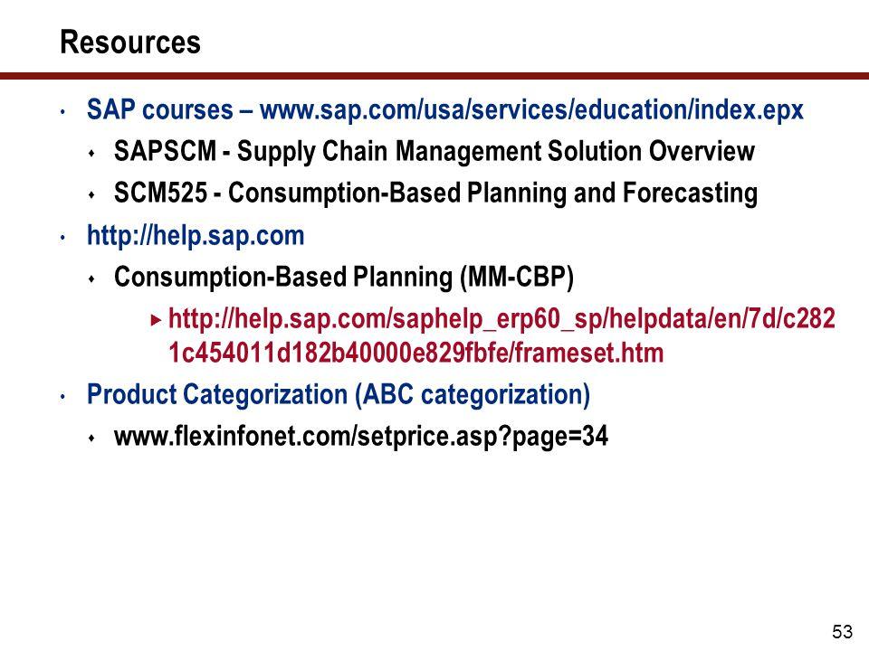 53 Resources SAP courses – www.sap.com/usa/services/education/index.epx  SAPSCM - Supply Chain Management Solution Overview  SCM525 - Consumption-Based Planning and Forecasting http://help.sap.com  Consumption-Based Planning (MM-CBP)  http://help.sap.com/saphelp_erp60_sp/helpdata/en/7d/c282 1c454011d182b40000e829fbfe/frameset.htm Product Categorization (ABC categorization)  www.flexinfonet.com/setprice.asp page=34