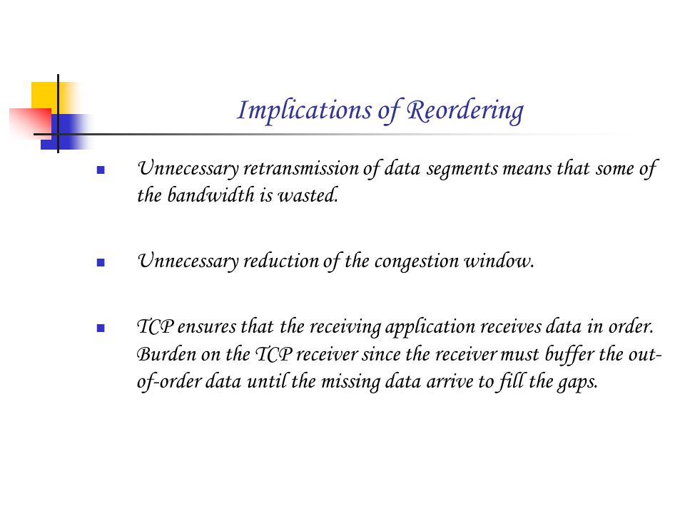 Implications of Reordering Unnecessary retransmission of data segments means that some of the bandwidth is wasted.