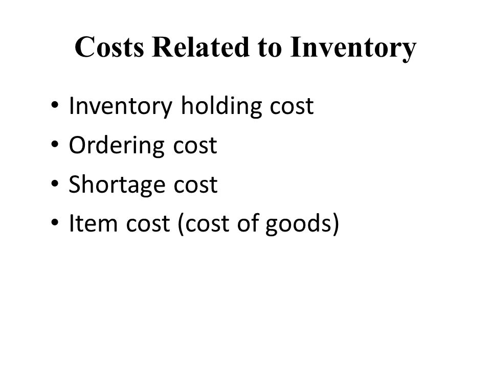 Costs Related to Inventory Inventory holding cost Ordering cost Shortage cost Item cost (cost of goods)