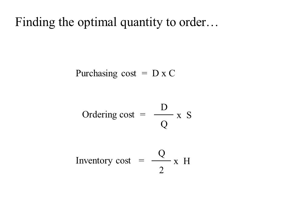 Finding the optimal quantity to order… Purchasing cost = D x C Inventory cost = Ordering cost = D Q x S Q 2 x H