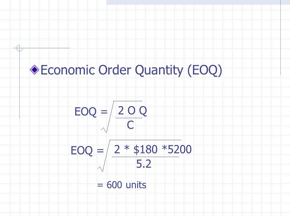 Economic Order Quantity (EOQ) EOQ = 2 O Q C EOQ = 2 * $180 *5200 5.2 = 600 units