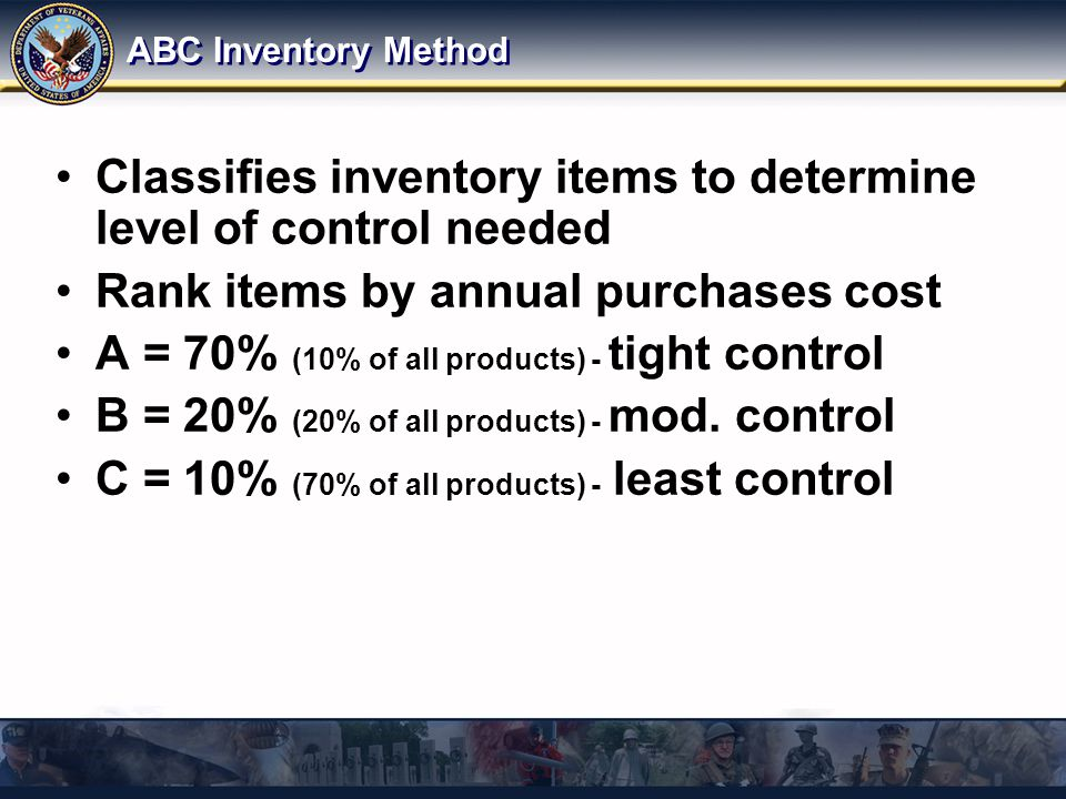 ABC Inventory Method Classifies inventory items to determine level of control needed Rank items by annual purchases cost A = 70% (10% of all products) - tight control B = 20% (20% of all products) - mod.