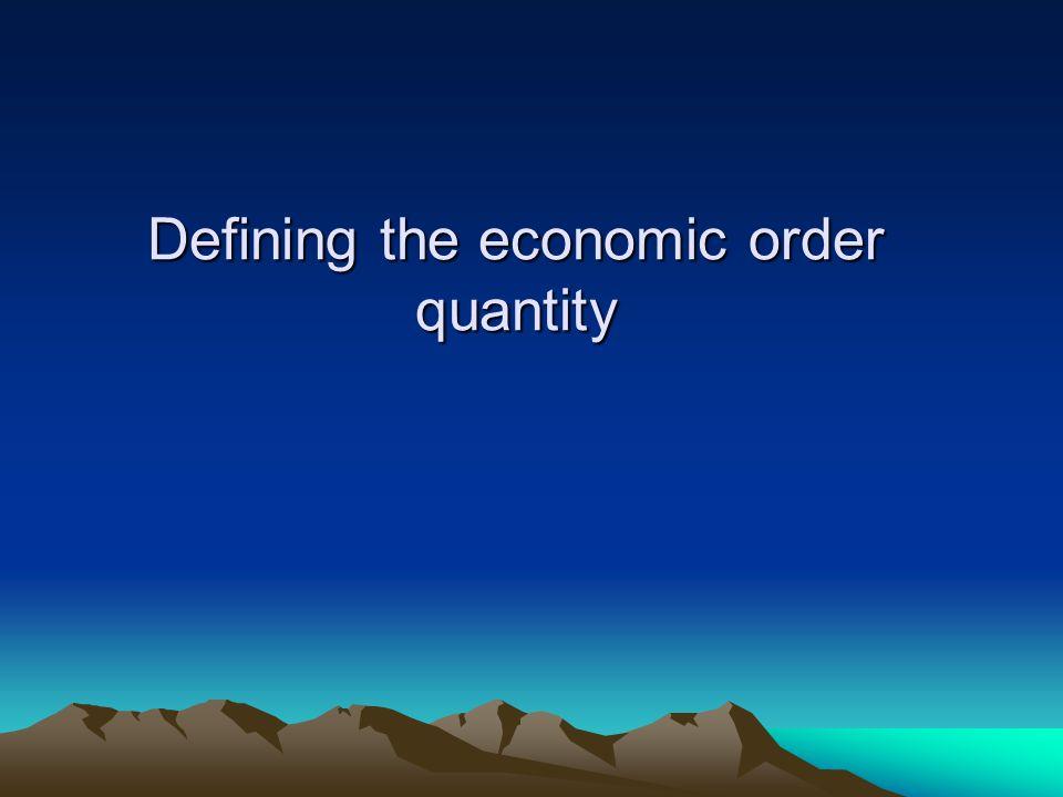 Defining the economic order quantity