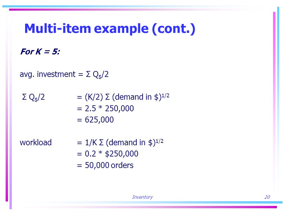Inventory20 Multi-item example (cont.) For K = 5: avg.