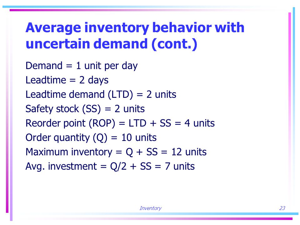 Inventory23 Average inventory behavior with uncertain demand (cont.) Demand = 1 unit per day Leadtime = 2 days Leadtime demand (LTD) = 2 units Safety stock (SS) = 2 units Reorder point (ROP) = LTD + SS = 4 units Order quantity (Q) = 10 units Maximum inventory = Q + SS = 12 units Avg.