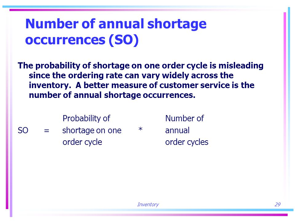 Inventory29 Number of annual shortage occurrences (SO) The probability of shortage on one order cycle is misleading since the ordering rate can vary widely across the inventory.