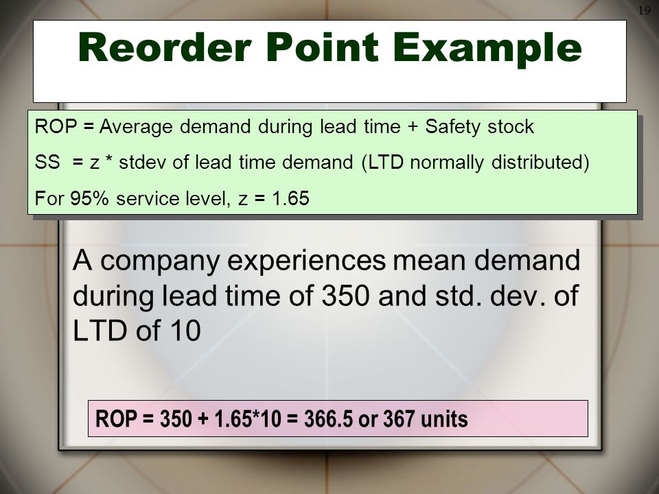 19 ROP = 350 + 1.65*10 = 366.5 or 367 units Reorder Point Example A company experiences mean demand during lead time of 350 and std. dev. of LTD of 10