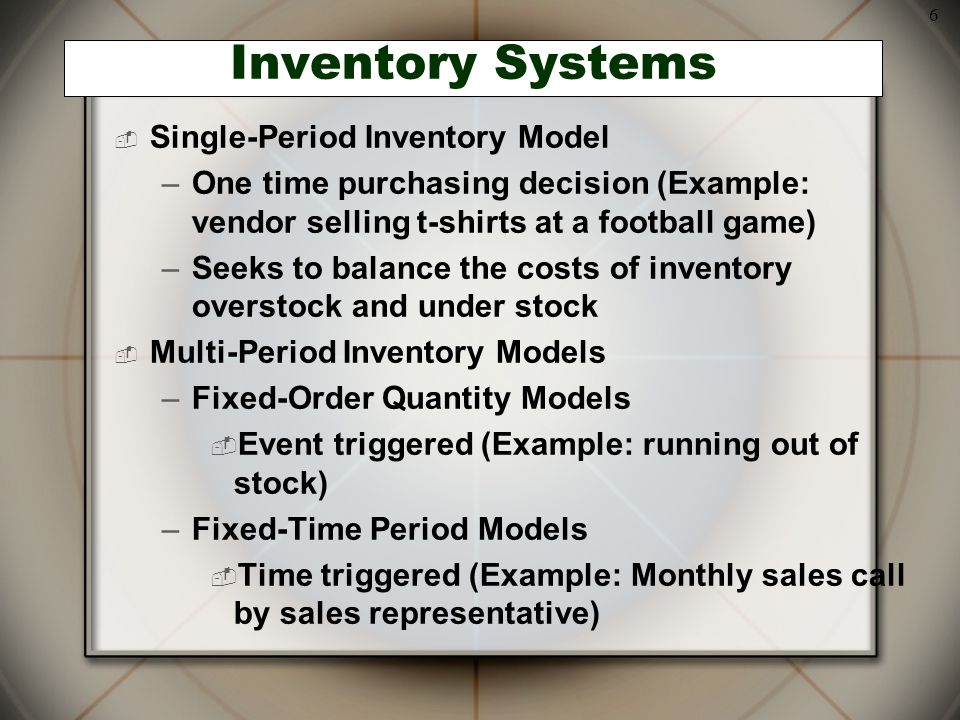6 Inventory Systems  Single-Period Inventory Model –One time purchasing decision (Example: vendor selling t-shirts at a football game) –Seeks to bala