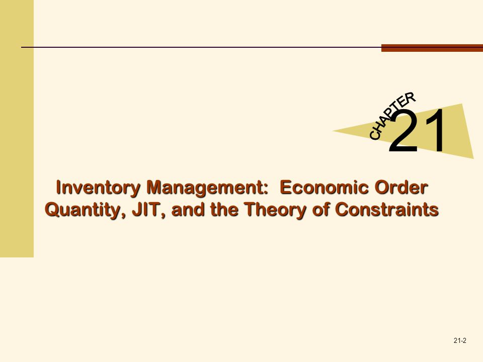 21-3 Three types of inventory costs can be readily identified with inventory: (1)The cost of acquiring inventory.