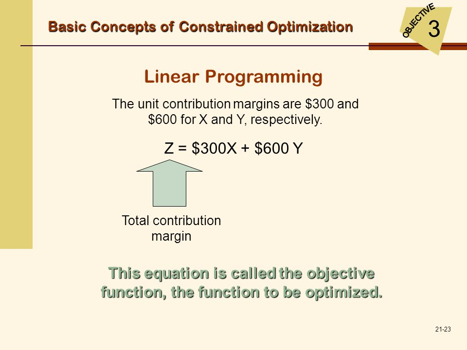 21-23 Linear Programming The unit contribution margins are $300 and $600 for X and Y, respectively. Z = $300X + $600 Y Total contribution margin This