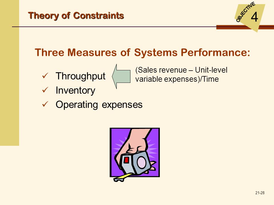 21-28 Throughput Inventory Operating expenses Three Measures of Systems Performance: (Sales revenue – Unit-level variable expenses)/Time Theory of Con