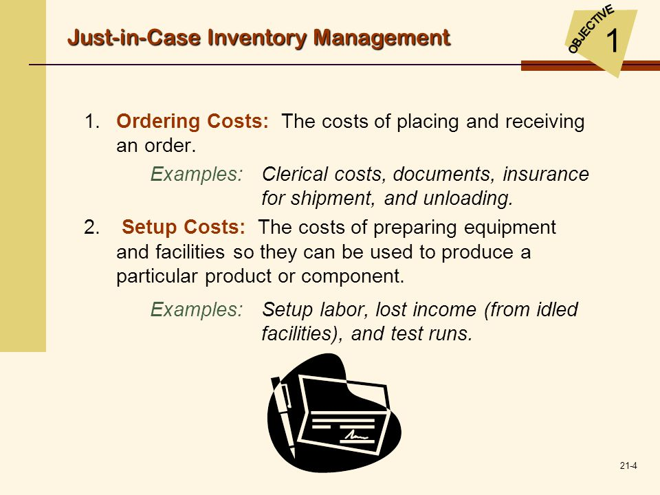 21-4 1.Ordering Costs: The costs of placing and receiving an order. Examples:Clerical costs, documents, insurance for shipment, and unloading. 2. Setu