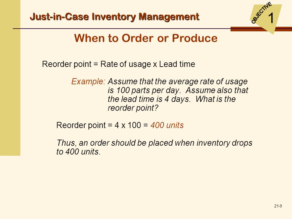 21-20 Discounts and Price Increases: JIT Purchasing versus Holding Inventories  Careful vendor selection  Long-term contracts with vendors  Prices are stipulated (usually producing a significant savings)  Quality is stipulated  The number of orders placed are reduced JIT Inventory Management 2