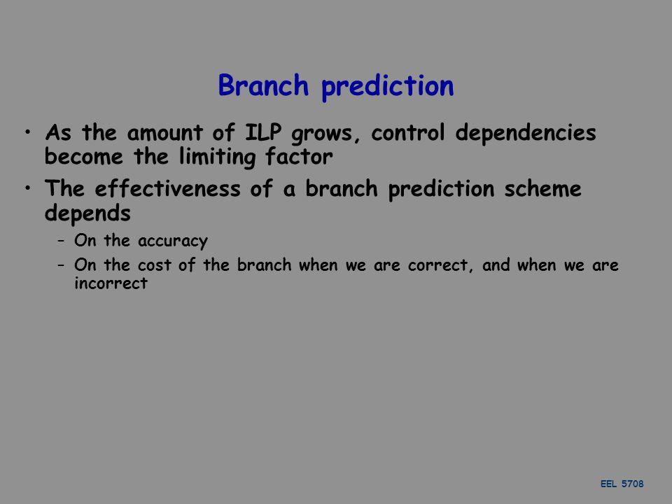 EEL 5708 7 Branch Prediction Schemes 1.1-bit Branch-Prediction Buffer 2.2-bit Branch-Prediction Buffer 3.Correlating Branch Prediction Buffer 4.Tournament Branch Predictor 5.Branch Target Buffer 6.Integrated Instruction Fetch Units 7.Return Address Predictors Read the book for details.