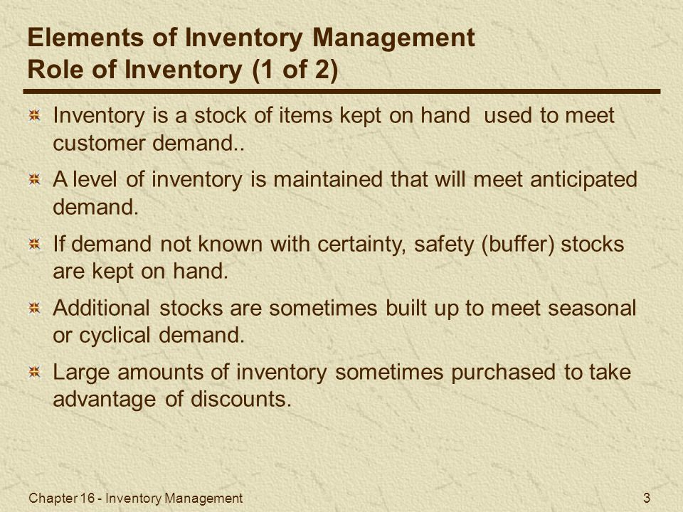Chapter 16 - Inventory Management 14 Figure 16.1 The Inventory Order Cycle Economic Order Quantity Models Basic EOQ Model (2 of 2)