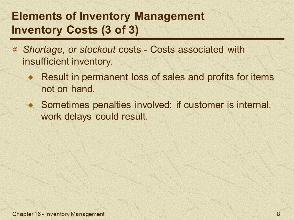 Chapter 16 - Inventory Management 49 The reorder point is the inventory level at which a new order is placed.