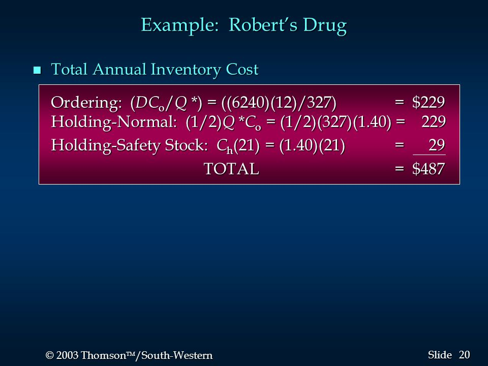 20 © 2003 Thomson  /South-Western Slide Example: Robert's Drug n Total Annual Inventory Cost Ordering: ( DC o / Q *) = ((6240)(12)/327) = $229 Holdi