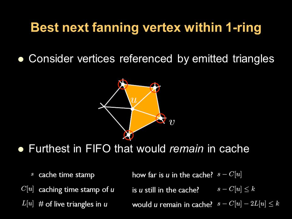 Best next fanning vertex within 1-ring Consider vertices referenced by emitted triangles Furthest in FIFO that would remain in cache