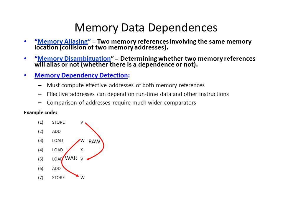 Speculative Disambiguation: Load Bypass Load Queue Store Queue Agen Reorder Buffer Mem i1: st R3, MEM[R8]: ?.