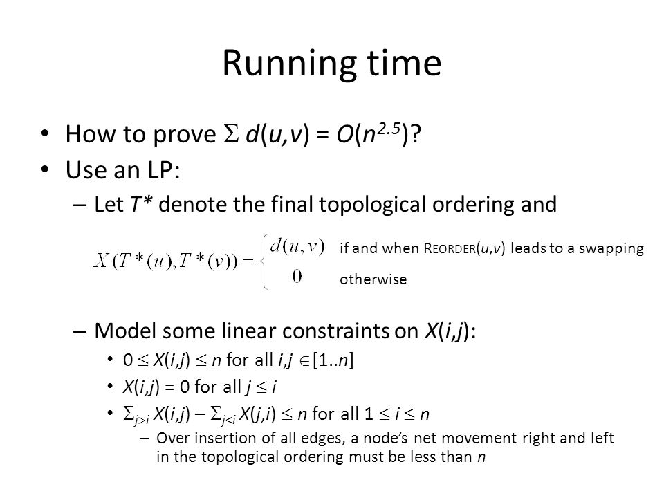 Running time How to prove  d(u,v) = O(n 2.5 ).
