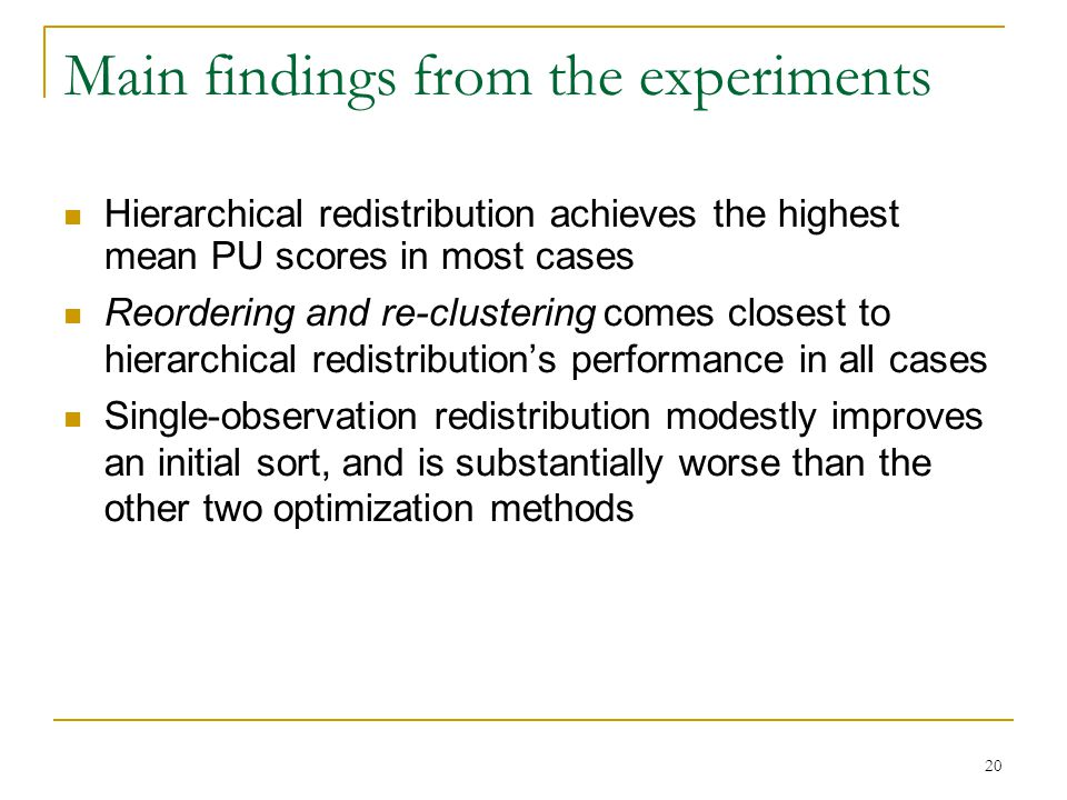 20 Main findings from the experiments Hierarchical redistribution achieves the highest mean PU scores in most cases Reordering and re-clustering comes closest to hierarchical redistribution's performance in all cases Single-observation redistribution modestly improves an initial sort, and is substantially worse than the other two optimization methods