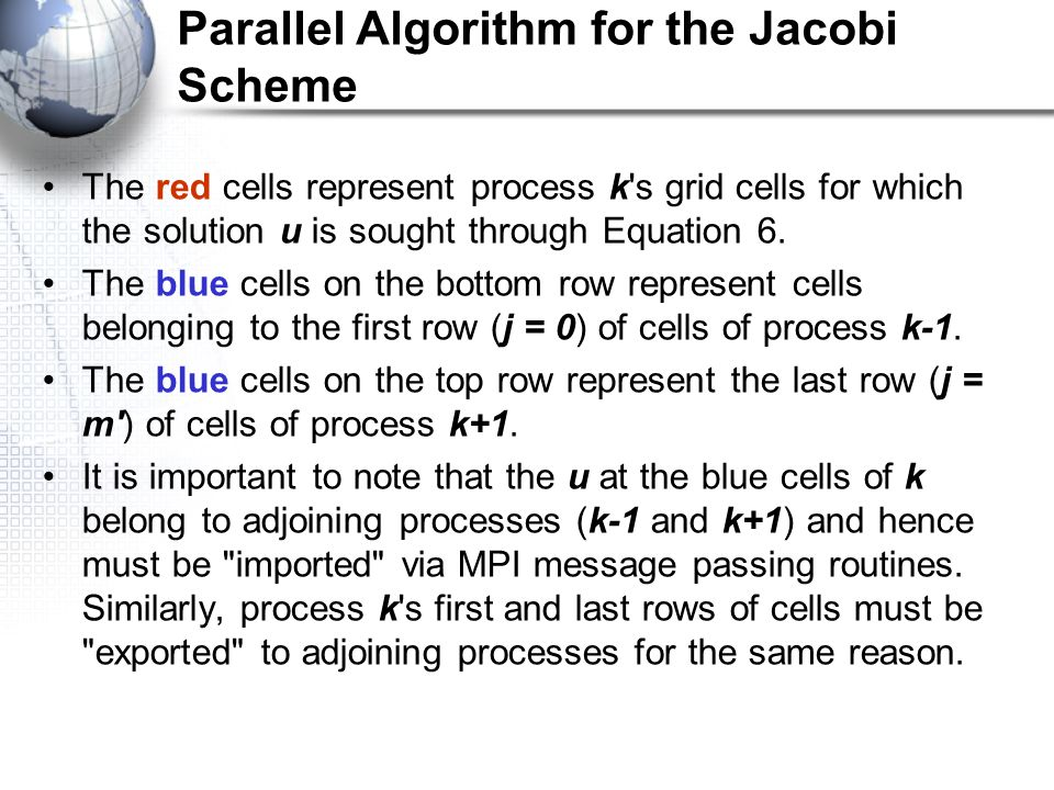 Parallel Algorithm for the Jacobi Scheme The red cells represent process k's grid cells for which the solution u is sought through Equation 6. The blu
