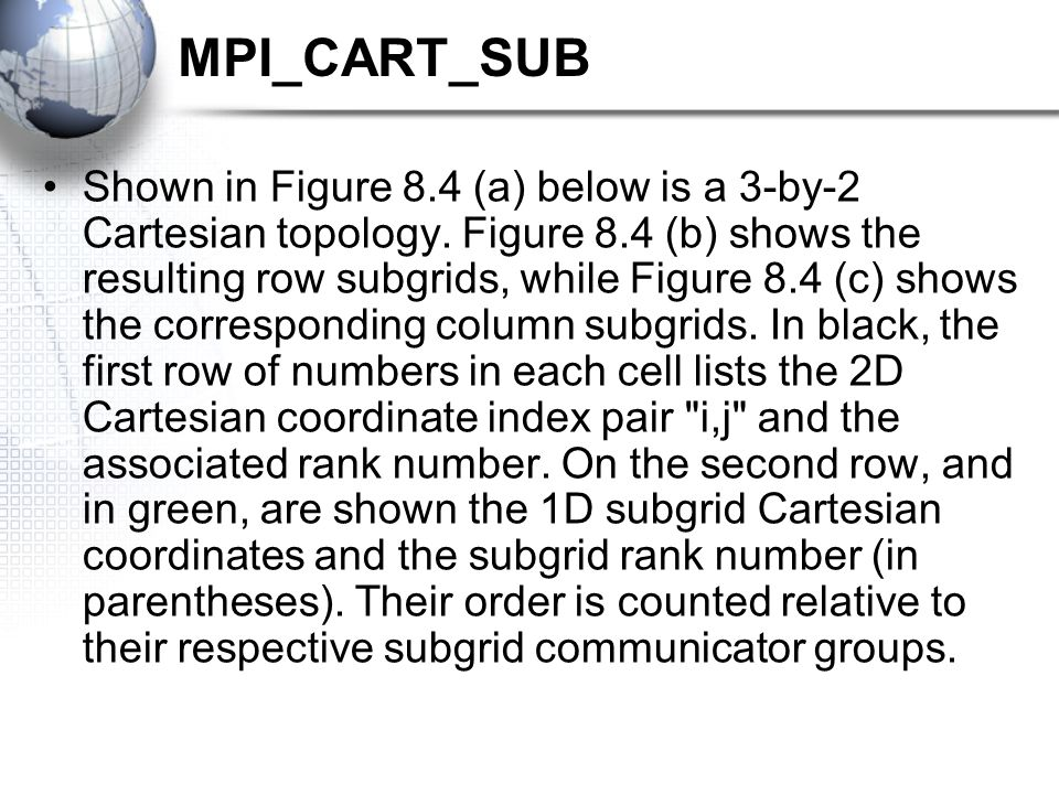 MPI_CART_SUB Shown in Figure 8.4 (a) below is a 3-by-2 Cartesian topology.