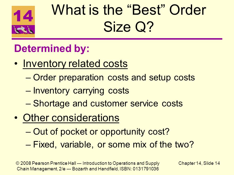 © 2008 Pearson Prentice Hall --- Introduction to Operations and Supply Chain Management, 2/e --- Bozarth and Handfield, ISBN: 0131791036 Chapter 14, Slide 14 What is the Best Order Size Q.