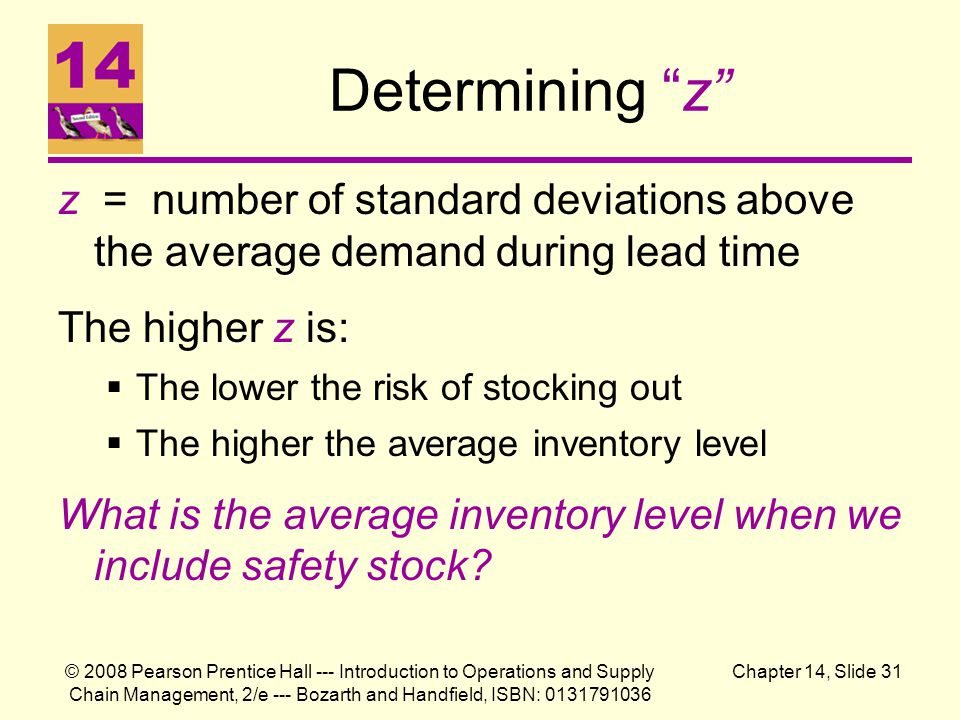 © 2008 Pearson Prentice Hall --- Introduction to Operations and Supply Chain Management, 2/e --- Bozarth and Handfield, ISBN: 0131791036 Chapter 14, Slide 31 Determining z z = number of standard deviations above the average demand during lead time The higher z is:  The lower the risk of stocking out  The higher the average inventory level What is the average inventory level when we include safety stock?