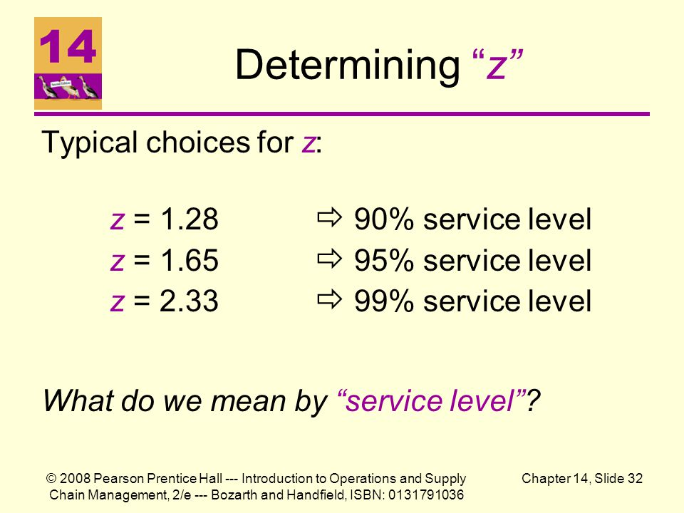© 2008 Pearson Prentice Hall --- Introduction to Operations and Supply Chain Management, 2/e --- Bozarth and Handfield, ISBN: 0131791036 Chapter 14, Slide 32 Determining z Typical choices for z: z = 1.28  90% service level z = 1.65  95% service level z = 2.33  99% service level What do we mean by service level ?