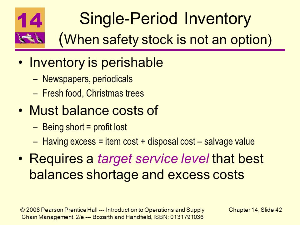 © 2008 Pearson Prentice Hall --- Introduction to Operations and Supply Chain Management, 2/e --- Bozarth and Handfield, ISBN: 0131791036 Chapter 14, Slide 42 Single-Period Inventory ( When safety stock is not an option) Inventory is perishable –Newspapers, periodicals –Fresh food, Christmas trees Must balance costs of –Being short = profit lost –Having excess = item cost + disposal cost – salvage value Requires a target service level that best balances shortage and excess costs