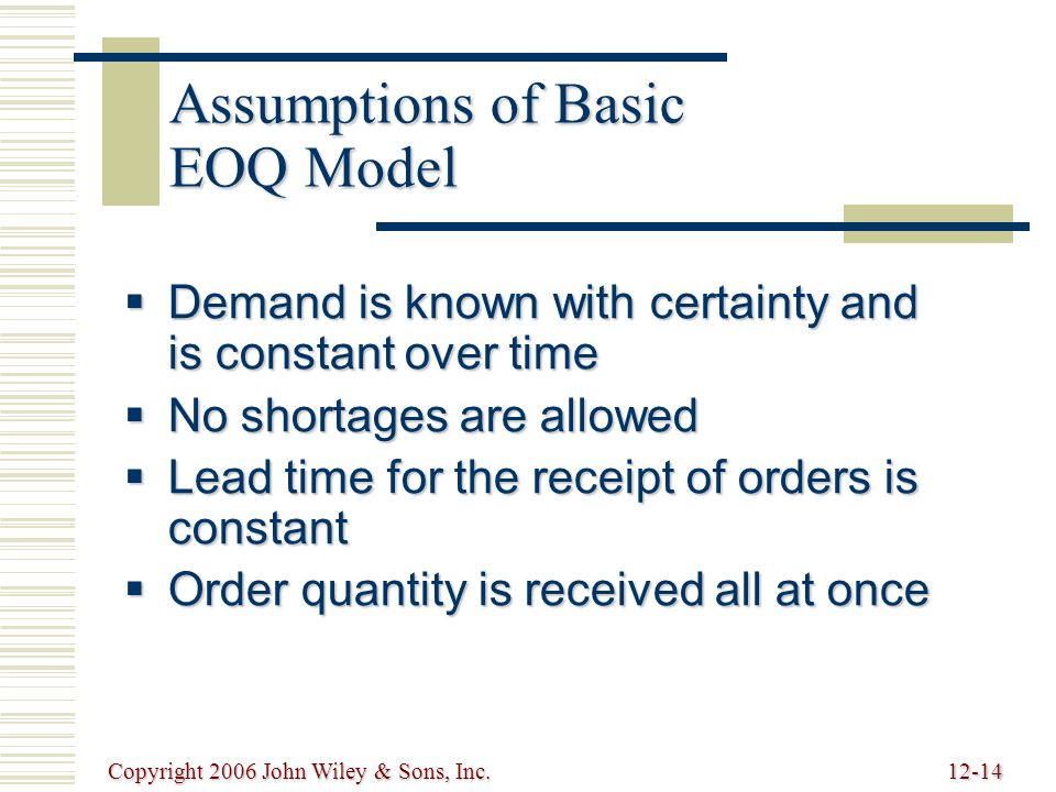 Copyright 2006 John Wiley & Sons, Inc.12-14 Assumptions of Basic EOQ Model  Demand is known with certainty and is constant over time  No shortages are allowed  Lead time for the receipt of orders is constant  Order quantity is received all at once
