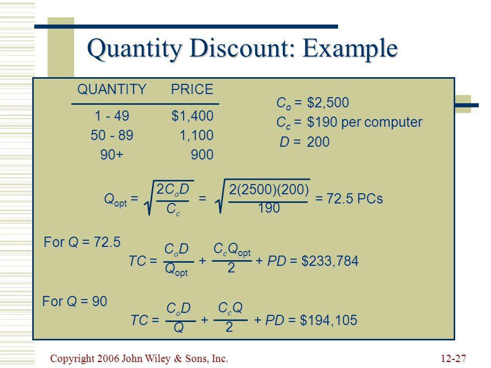 Copyright 2006 John Wiley & Sons, Inc.12-27 Quantity Discount: Example QUANTITYPRICE 1 - 49$1,400 50 - 891,100 90+900 C o =$2,500 C c =$190 per computer D =200 Q opt = = = 72.5 PCs 2CoD2CoDCcCc2CoD2CoDCcCc2(2500)(200)190 TC = + + PD = $233,784 C o D Q opt C c Q opt 2 For Q = 72.5 TC = + + PD = $194,105 CoDCoDQQCoDCoDQQQ CcQCcQ22CcQCcQ222 For Q = 90