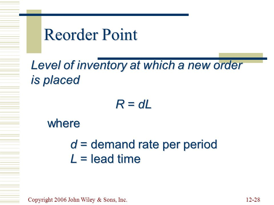 Copyright 2006 John Wiley & Sons, Inc.12-28 Reorder Point Level of inventory at which a new order is placed R = dL where d = demand rate per period L = lead time