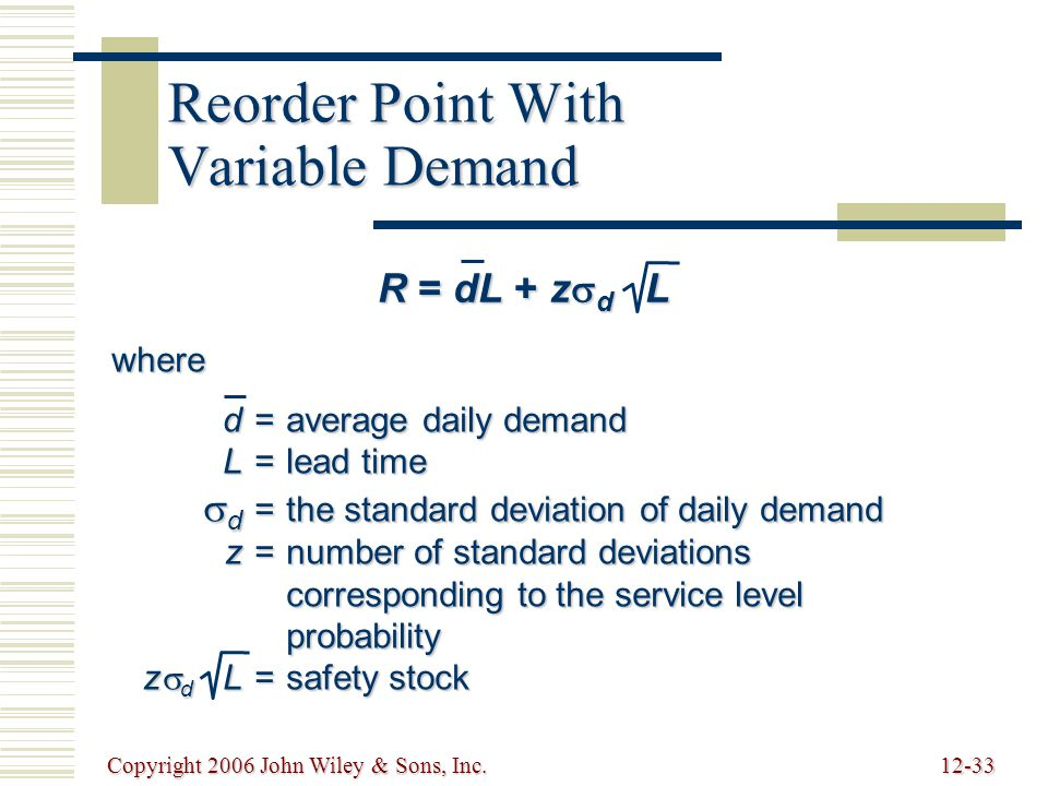 Copyright 2006 John Wiley & Sons, Inc.12-33 Reorder Point With Variable Demand R = dL + z  d L where d=average daily demand L=lead time  d =the standard deviation of daily demand z=number of standard deviations corresponding to the service level probability z  d L=safety stock